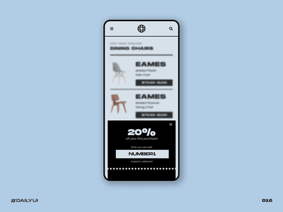 Overlay promo mobile chair eames ecommerce overlay retro blue challenge dailyui