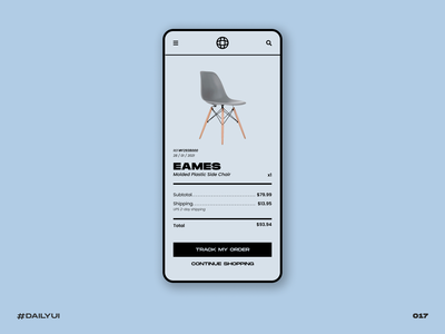 Receipt eames chair receipt email eames ecommerce mobile retro dailyui black challenge