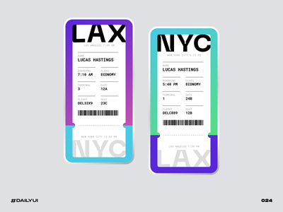 Boarding Pass nyc lax pass boarding dailyui challenge