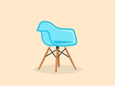 Chair Eamespiration pastel vector icon chair molded eames