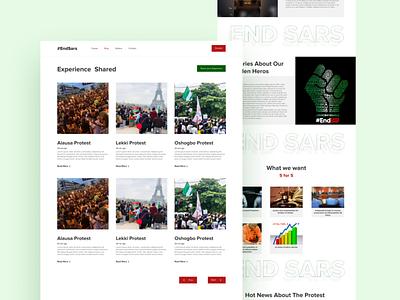 EndSARS website uiux minimal creativity ux ui design