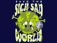 Save the Sick, Sad World character concept stars moon sad sick save the world save earth world space pen tool hand drawn illustrator cc adobe illustrator vector vector art crumby crumby creative coronavirus covid19