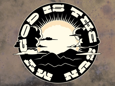 My God is the Sun queens of the stone age design vector nebraska illustration space stars adobe illustrator crumby creative vector art t-shirt design apparel design landscape mountains god sun my god is the sun