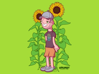 Sunflower Power nebraska crumby illustration hand drawn print design graphic design lincoln nebraska omaha summer 2020 summer crumby creative pen tool adobe illustrator cc cartoon vector art sunflowers