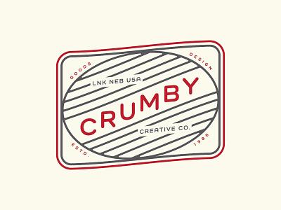 Crumby Badge 1988 estd skewed services design goods graphic design simple vector monoline branding logo badge creative crumby