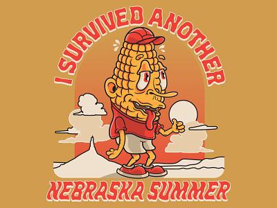 I Survived Another Nebraska Summer T-Shirt Design vector t-shirt t-shirt design screen print crumby corn character crumby creative vector art illustration survive survived cartoon cartoon character mascot corny corn summer nebraska