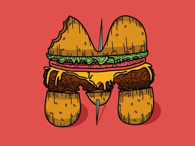 The Letter M Makes Me Hungry tomato lettuce original sloppy inked pencil hand drawn bun vector art vector cheese color drips food hamburger art illustration m letter cheeseburger