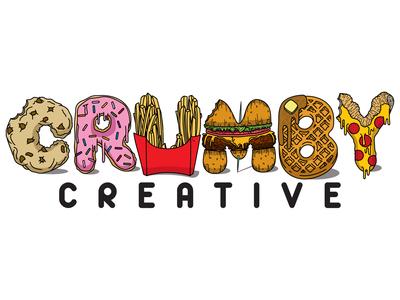 Crumby Creative Logo crumbs crumby shaded original design logo branding illustrator cc adobe cc sloppy junk vector drips pencil hand drawn illustration art creative foods illustration full color