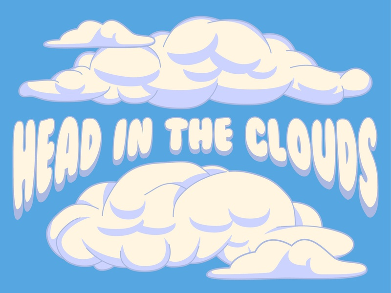 Head In The Clouds cartoon pencil illustration pencil drawing vector pencil hand drawn elements nebraska lincoln adobe illustrator illustration creative crumby sky high typeface type cloudy clouds head