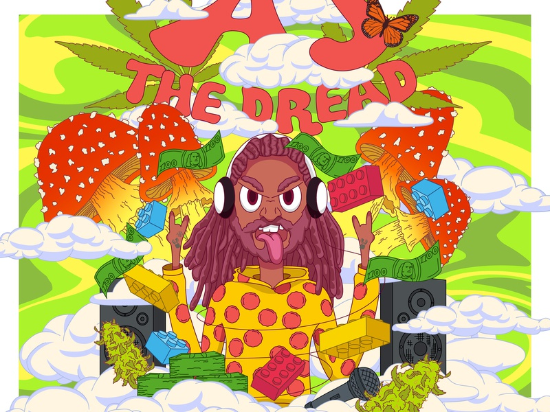 Aj The Dread Poster poster vector art creative crumby pyschedelic vivid illustration drawing