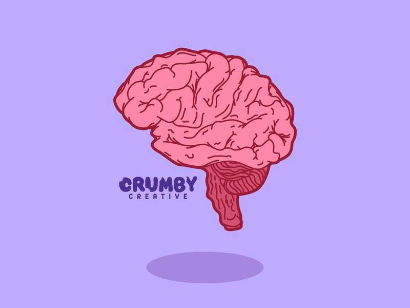 Floating Brain cranium biological biology purple monster kaiju nebraska cartoon icon illustrator art vector art colorful hand drawn illustrator creative brainstorming futurama crumby illustration brain