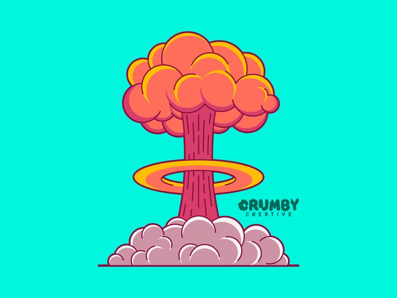 Atomic hand drawn abstraction fireart nebraska lincoln illustrators illustration annihilation destruction fire bomb creative crumby vector art boom clouds cloud mushroom explosion atomic