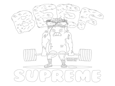 Team Beef Supreme heavy weightlifting weights concept cartoon character cartoon sauce meaty beefy cheesy cheese dripping drip gooey illustration hand drawn food and drink supreme beef food