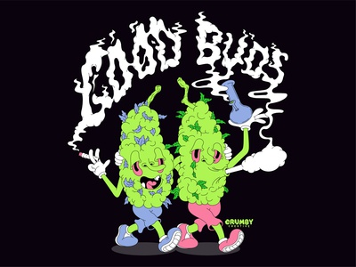 Good Buds haze smoker handdrawn streetwear apparel t-shirt concept character walking illustrator vectorart vector lowbrowart lowbrow crumbycreative marijuana smoke buds weed goodbud