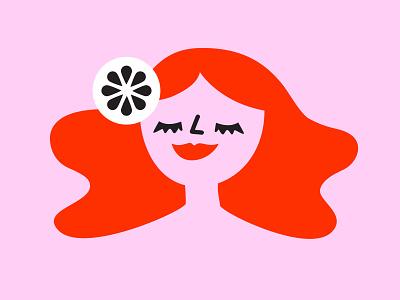 Joyful female character goodvibe smile modern vector woman female character illustration logo design
