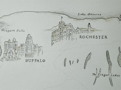 New York State Map Illustration Detail