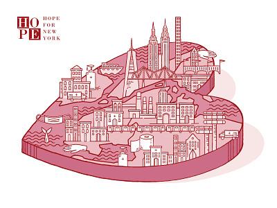 Valentine's Day Card 2021 illustration brooklyn ny geography map skyline city nonprofit love heart brooklyn manahattan new york city newyork nyc card holiday