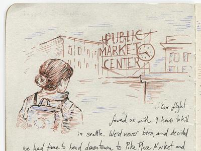 Alaska Sketchbook (Detail) — Seattle Layover sketchbook journal travel pen and ink alaska washington seattle public market illustration drawing sketch