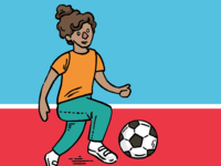 Girl Playing Soccer Illustration