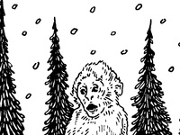 Baby Snow Monkey Illustration