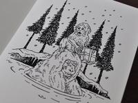 Snow Monkey Christmas Card