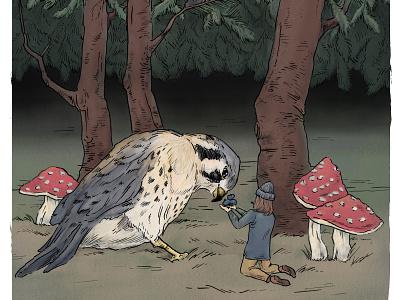 The Small Falcon... (detail) elsabeskow kidlit mushrooms fairytale storybook falcon kestrel procreate illustration drawing