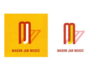 Mason Jar Music (Unused Concept 2) letterforms custom type lettering typography monogram record label recording studio studio music mj icon negative space