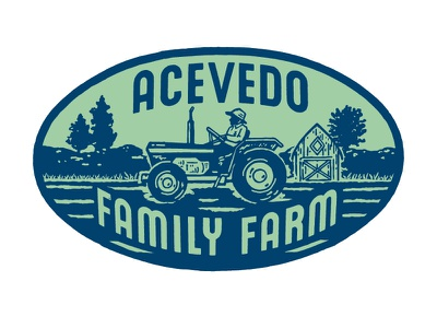 Acevedo Family Farm Logo nyc new york city new york logotype barn landscape tractor identity branding farmers market greenmarket farming farm illustration logo