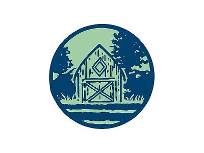 Acevedeo Family Farm — Barn Icon identity logomark circle new york new york state organic pen and ink drawing illustration icon branding farm logo