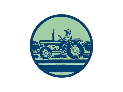 Acevedeo Family Farm — Tractor Icon art identity pen and ink green farmer upstate new york agriculture organic farm farming tractor drawing circle icon branding