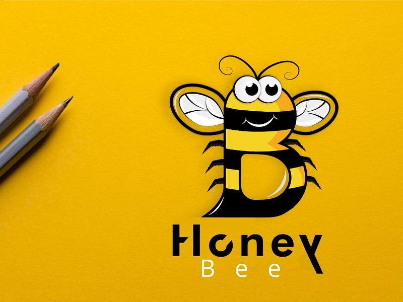 Honey Bee type clean character art brand up green lettering minimal illustrator identity icon illustration flat typography design vector creative logo design logo branding