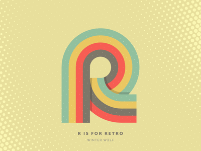 R is for Retro groovy 1980s linework colorful design retro retro effect vintage type retro type vector lettering bright lettering 36 days of type lettering 36 days of type hand lettering graphic design winter wolf creative typography illustrator illustration doodle lettering