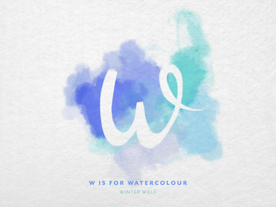 W is for Watercolour cursive watercolour lettering watercolor lettering watercolor art watercolor background negative space watercolour watercolor drawing 36 days of type lettering 36 days of type procreate hand lettering graphic design winter wolf creative typography illustrator illustration doodle lettering