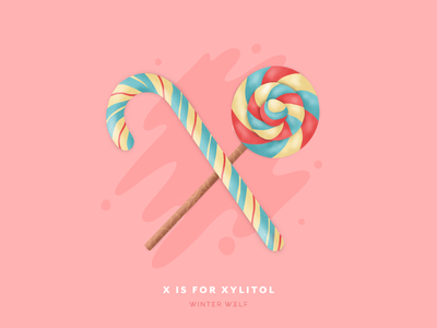 X is for Xylitol candy illustration candycane lollipop sweets sugar sketch design drawing bright lettering 36 days of type lettering 36 days of type procreate hand lettering graphic design winter wolf creative typography illustrator illustration doodle lettering