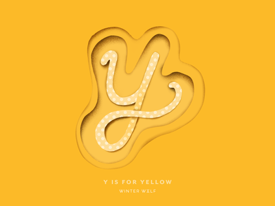 Y is for Yellow monoline cursive contour paper cutout effect paper cutout paper cut 3d lettering drawing bright lettering 36 days of type lettering 36 days of type procreate hand lettering graphic design winter wolf creative typography illustrator illustration doodle lettering