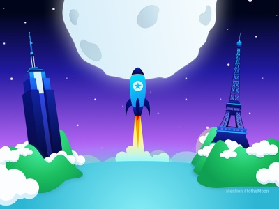 Mention Tothemoon star moon rocket empire state building eiffel tower uidesign ui illustration art illustration