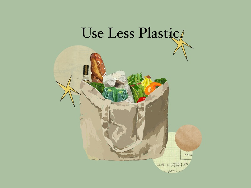 Use Less Plastic healthy vegetables grocery illustration grocery grocerybag earth reusablebag lessplastic reuse illustrator sustainability illustration illustration sustainability