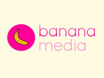 banana media logo ident logo pink banana