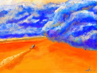 Into the Storm digital painting sunshine sailing cool colors warm colors storm clouds desert painting american cuban sunny digital illustration digital art illustration
