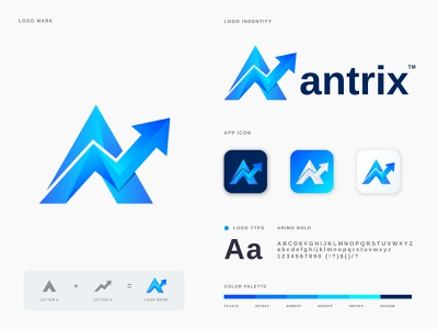Antrix Logo Branding app logo vector technology software ranking rank modern logo modern logo mark logo designs logo designer logo design letter a logo design company chart branding brand identity app analysis