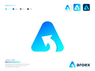 Aroex Logo Design. A + arrow logo mark letter logo logo designer logo designer for hire business logo app design modern logo branding brand identity brand design marketing logo arrows arrow a logo design logo design logotype app a letter a letter logo