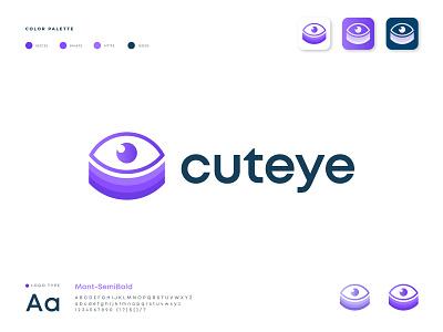 Cuteye logo design app design brand identity app logo abstract logo vector light technology symbol icon logo mark app icon software design tech branding health logo