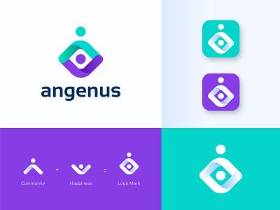 Angenus Logo Design. modern logo best logo designer spark typography journey people seniors humanity logo design mark identity human care home care logo brand branding community app
