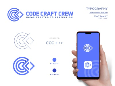 Code Craft Crew Logo Design. abstract logo brand identity tech logo app logo programmer concept modern logo coding coder code logo letter mark c logo branding developer logo developer creative logo bracket codes web app