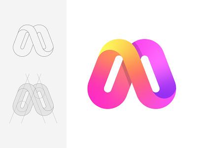 M m letter mark m logo logo design monogram logotype business technology software company word mark illustration design app abstract logo app logo logo brand identity modern logo branding letter mark