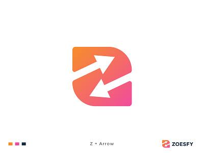 Zoesfy Logo Design. letter logo letter mark analysis code graphic design technology software business arrow mark arrow design app app logo brand identity modern logo branding logo logo design z letter z logo