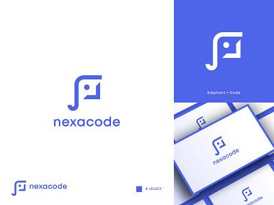 Nexacode Logo Design colorful logo logo mark programmer consulting symbol analysis animal logo technology tech software coding code app elephant design app logo brand identity modern logo branding logo design