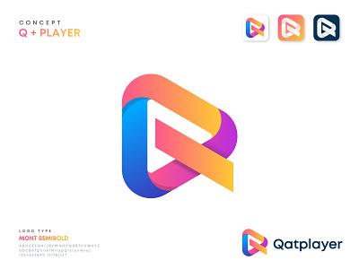 QatPlayer Logo Design sound app multimedia letter mark q logo button branding logosohel design icon play social player logo video music company record live streaming