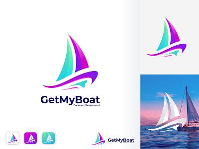 GetMyBoat Logo Design ship boat logo logo design boat trip travel wave sailboat speed boat boat design app logo brand identity modern logo branding
