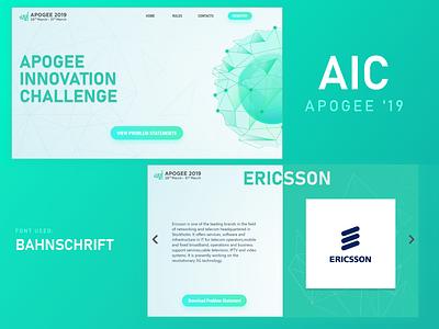 Apogee'19 AIC Web UI lettering typography logo minimal website vector design web ux ui